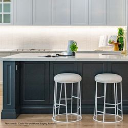 Aiden White Steel Kitchen Stool - Natural Linen