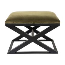 Spencer Black Timber Stool - Moss Velvet