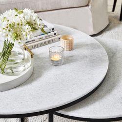 Chloe Stone Nesting Coffee Table - Black