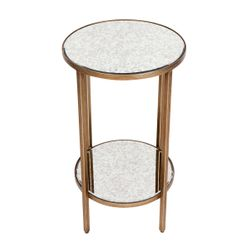 Cocktail Mirrored Side Table - Petite Antique Gold