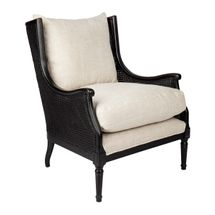 Havana Black Rattan Occasional Chair - Natural Linen