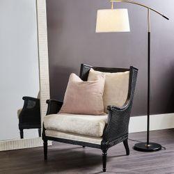 Havana Black Rattan Arm Chair - Natural Linen
