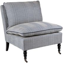 Candace Occasional Chair - Chevron Blue Linen
