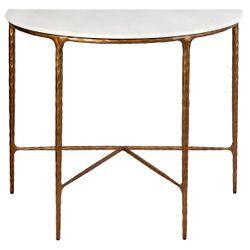 Heston Marble Demilune Table - Brass