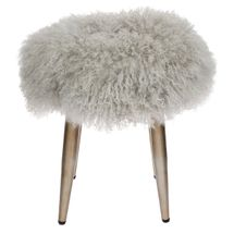 Dixie Stool - Grey Mongolian Fur