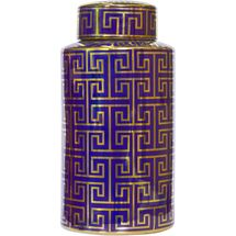 Greek Key Temple Jar - Large Navy/Gold