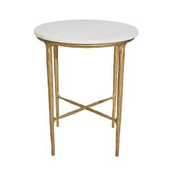 Heston Marble Side Table - Brass