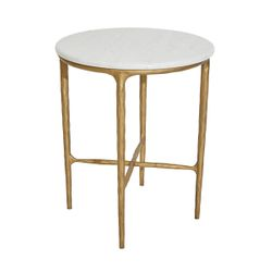 Heston Round Marble Side Table - Brass