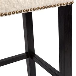 Canyon Black Oak Bar Stool - Natural Linen