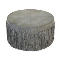 Indio Round Ottoman - Grey Suede
