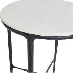 Heston Round Marble Side Table - Black