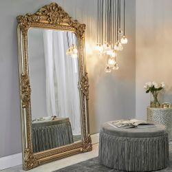 Elizabeth Floor Mirror - Antique Gold