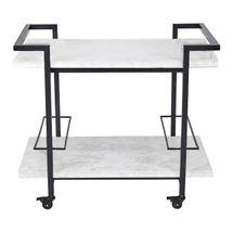 Franklin White Marble Bar Cart - Black