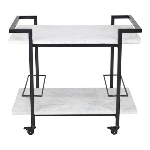 Franklin White Marble Drinks Trolley - Black