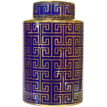 Greek Key Temple Jar - Medium Navy/Gold