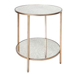 Cocktail Mirrored Side Table - Antique Gold