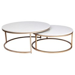 Chloe Marble Nesting Coffee Table - Gold 2pc