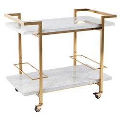Franklin White Marble Drinks Trolley - Gold
