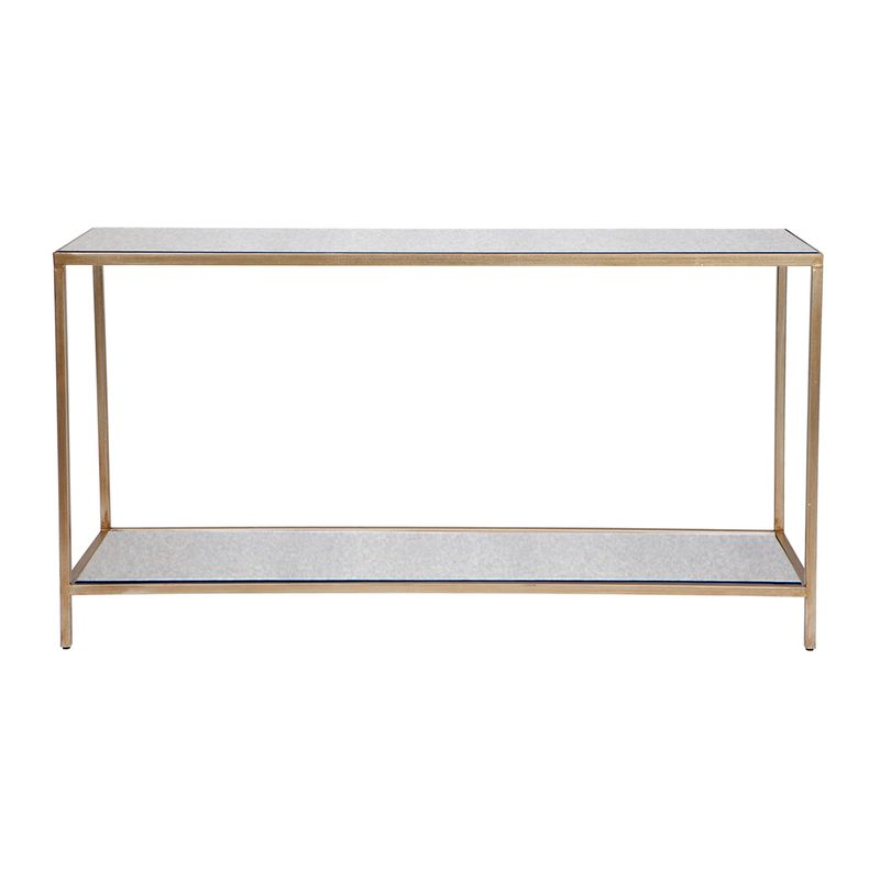 Cocktail Mirrored Console Table - Large Antique Gold