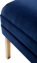 Broadway Tufted Bench Ottoman - Navy Velvet