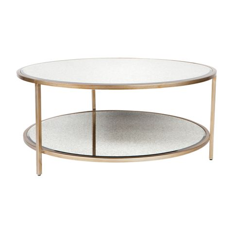 Cocktail Mirrored Round Coffee Table - Antique Gold