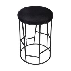 Aiden Black Steel Kitchen Stool - Black Linen