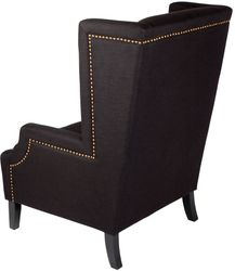 Emperor Wing Back Occasional Chair - Black Linen