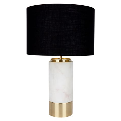 Paola Marble Table Lamp - White w Black Shade