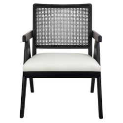 The Imperial Rattan Black Occasional Chair - White Linen