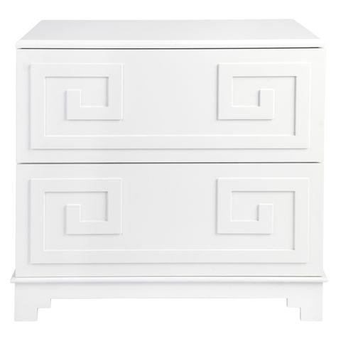 Greek Key Bedside Table - White