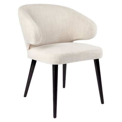 Harlow Black Dining Chair - Natural Linen
