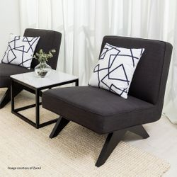 Martyn Slipper Chair - Charcoal Linen
