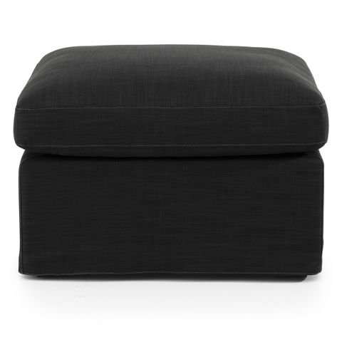 Birkshire Slip Cover Ottoman - Charcoal Linen