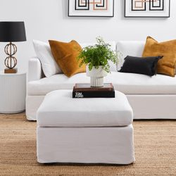 Birkshire Slip Cover Ottoman - Off White Linen