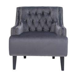 Skyler Tufted Occasional Chair - Charcoal Velvet