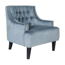 Skyler Tufted Occasional Chair - Dove Grey Velvet