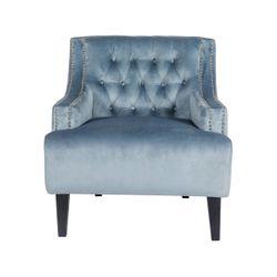 Skyler Tufted Occasional Chair - Dove Grey Velvet