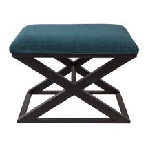 Spencer Black Timber Stool - Teal Chenille