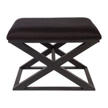 Spencer Black Timber Stool - Black Linen