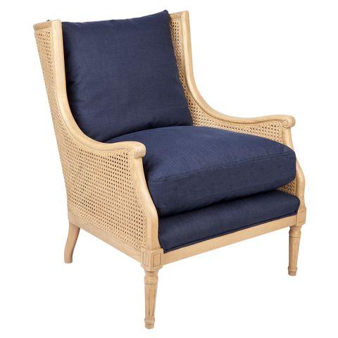 Havana Rattan Occasional Chair - Natural Frame w Navy Linen
