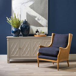 Havana Natural Rattan Occasional Chair - Navy Linen