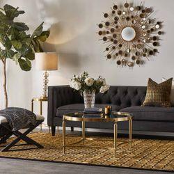 Tuxedo 3 Seater Tufted Sofa - Charcoal Linen