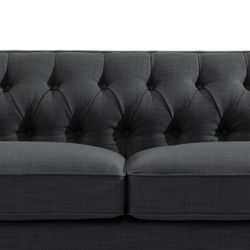 Tuxedo 3 Seater Tufted Sofa - Charcoal Linen