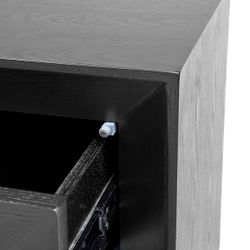 Balmain Oak Low Bedside Table - Black