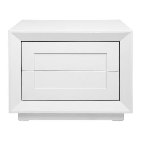 Balmain Oak Low Bedside Table - White