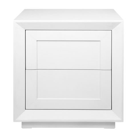 Balmain Oak Tall Bedside Table - White