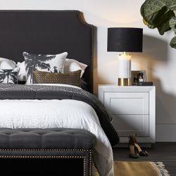 Balmain Oak Tall Bedside Table - White