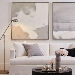 Birkshire 3 Seater Slip Cover Sofa - White Linen
