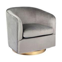 Belvedere Swivel Occasional Chair - Charcoal Velvet
