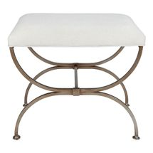 Novak Antique Gold Iron Stool -  Natural Linen